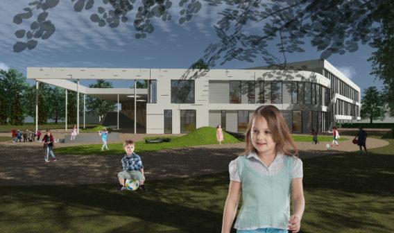 Spelende kinderen op het omliggende speelterrein van Brede School 't Ooievaarsnest in Assende
